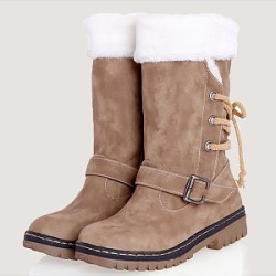 Berrylook Plain Flat Round Toe Casual Mid Calf Flat Boots clothing stores, clothes shopping near me,
