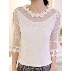 Berrylook Round Neck Elegant Lace Half Sleeve Blouse shoppers stop, online sale, splice Blouses, white blouses for women, summer tops for women