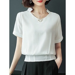 Berrylook Band Collar Patchwork Plain Blouses clothing stores, clothes shopping near me, black top, red blouse
