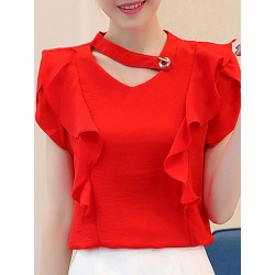 Berrylook V Neck Plain Elegant Short Sleeve Blouse sale, online sale, Solid Blouses, silk blouse, womens shirts