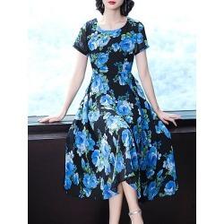 Berrylook Round Neck Printed Maxi Dress online sale, sale, printing Maxi Dresses, homecoming dresses, black maxi dress