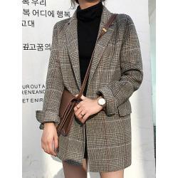 Berrylook Mid-length plaid Blazer cheap online stores, sale, Long Blazers, plaid blazer womens, womens blazer jacket