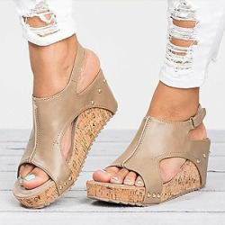 Berrylook Mid Heeled Chamois Ankle Strap Peep Toe Basic Casual Wedge Sandals cheap online shopping sites, cheap online stores, found on Bargain Bro Philippines from Berrylook for $24.95