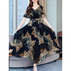 Berrylook V-Neck Printed Maxi Dress online sale, shoping, printing Maxi Dresses, sequin dress, floral maxi dress