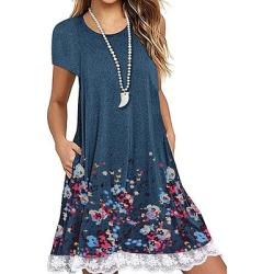 Berrylook Round Neck Patchwork Floral Printed Shift Dress online, online sale, fitted Shift Dresses, below the knee dresses, tea dress