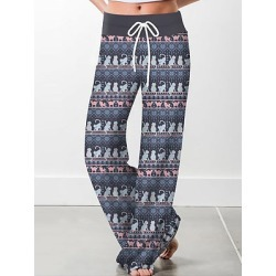 Berrylook Wide-leg Pants Straight Printed Drawstring Casual shoppers stop, online sale, found on Bargain Bro Philippines from Berrylook for $21.95
