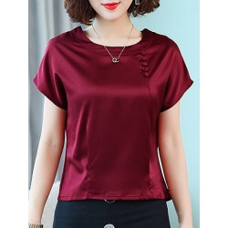 Berrylook Round Neck Decorative Buttons Plain Short Sleeve Blouse clothing stores, sale, Solid Blouses, summer tops for women, summer tops