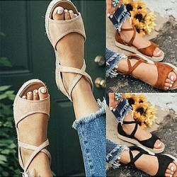 Berrylook Plain Flat Velvet Peep Toe Casual Date Flat Sandals online, fashion store,