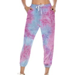 Berrylook Fashion tie-dye printed lace-up casual pants shop, online shop, Tie Casual Pants, found on Bargain Bro India from Berrylook for $26.95