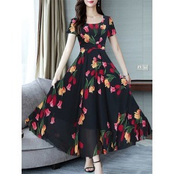 Berrylook Round Neck Floral Printed Maxi Dress online, online stores, long red dress, long formal dresses found on MODAPINS from Berrylook for USD $29.06