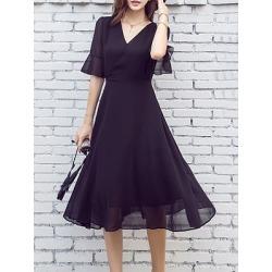 Berrylook V Neck Plain Bell Sleeve Maxi Dress online sale, sale, Oversized Maxi Dresses, petite maxi dresses, long white dress