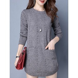 Berrylook Round Neck Plain Knit Pullover online sale, fashion store, cardigans for women, long cardigan