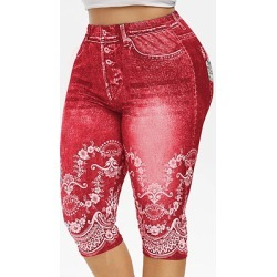 Berrylook Fashion high waist stretch print imitation denim leggings online, online shopping sites, high waisted leggings, white leggings