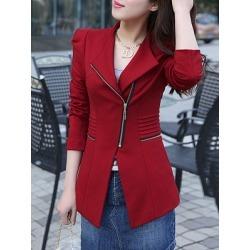Lapel Slit Pocket Zipper Plain Puff Sleeve Blazers