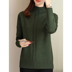 Berrylook Short High Collar Elegant Plain Long Sleeve Knit Pullover cheap online shopping sites, fashion store, Solid Pullover, long cardigans for women, chunky sweater