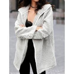 Berrylook Womens Casual Solid Colour Loose Velvet Coat online, online sale, Solid Coats, warm jackets for women, coats & jackets