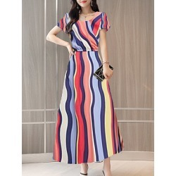 Berrylook Round Neck Floral Printed Maxi Dress shoppers stop, online shop, semi formal dresses, shirt dress found on MODAPINS from Berrylook for USD $23.95