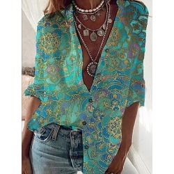 Berrylook V Neck Print Long Sleeve Blouse online sale, sale, going out tops, summer tops for women