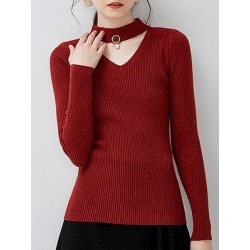 Berrylook Collar Elegant Plain Long Sleeve Knit Pullover clothing stores, shop, chunky sweater, cardigan sweaters for women