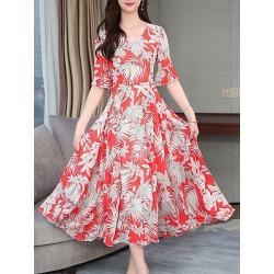 Berrylook V-Neck Printed Maxi Dress online sale, sale, Floral Maxi Dresses, vintage dresses, halter dress