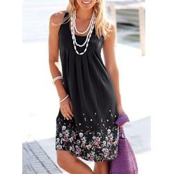 Berrylook Scoop Neck Floral Printed Shift Dress sale, online sale, Fitted Shift Dresses, below the knee dresses, linen dress