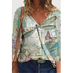 Berrylook Dragonfly print V-neck pullover casual long-sleeved T-shirt top sale, online shop, found on Bargain Bro India from Berrylook for $18.95