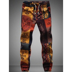 Berrylook Tribal Printed Men's Drawstring Elastic Waist Casual Pants online shop, cheap online shopping sites,