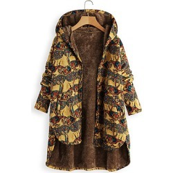 Berrylook Vintage Abstract Printed Single-Breasted Irregular Plus Velvet Hooded Facket cheap online shopping sites, fashion store, jean jacket with fur, best winter coats