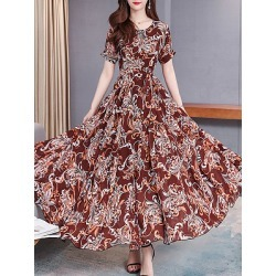 Berrylook Round Neck Printed Maxi Dress online sale, clothes shopping near me, Floral Maxi Dresses, long white dress, homecoming dresses