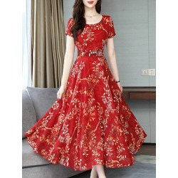 Berrylook Round Neck Floral Printed Maxi Dress online, cheap online shopping sites, Fitted Maxi Dresses, sheath dress, vintage dresses