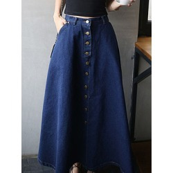 Berrylook Classical Decorative Button Plain Flared Maxi Skirt sale, online,