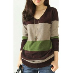 Berrylook V Neck Patchwork Casual Color Block Long Sleeve Knit Pullover online sale, clothes shopping near me, cute sweaters, cardigan