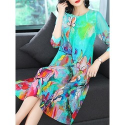 Berrylook Round Neck Printed Maxi Dress shop, stores and shops, shirt dress, long formal dresses found on MODAPINS from Berrylook for USD $26.95