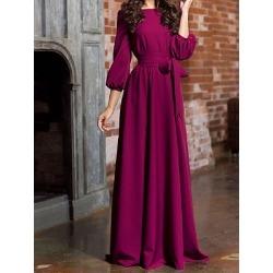 Berrylook Round Neck Patch Pocket Plain Maxi Dress sale, clothes shopping near me, Empire Maxi Dresses, sheath dress, long formal dresses