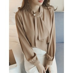 Berrylook Band Collar Beading Patchwork Plain Blouses shoping, sale, shirts & tops, summer tops for women found on Bargain Bro Philippines from Berrylook for $18.95