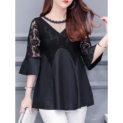 Berrylook Round Neck Patchwork Lace Half Sleeve Blouse online shop, online sale, splice Blouses, white blouses for women, summer tops