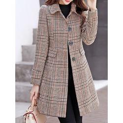 Berrylook Women's Casual Slim Plaid Coat clothing stores, online sale, Grid Coats, cute winter coats, womens winter jackets canada
