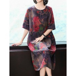 Berrylook Round Neck Printed Shift Dress online sale, sale, printing Shift Dresses, floral shift dress, a line dress