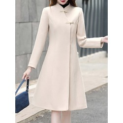 Berrylook Notch Lapel Plain Pure Color Coat sale, shoping, Solid Coats, brown leather jacket womens, warm jackets for women