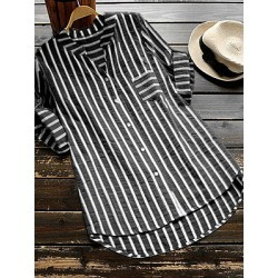 Berrylook V Neck Loose Fitting Stripes Blouses sale, stores and shops, work blouses, tops for women
