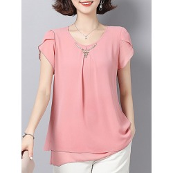 Berrylook Round Neck Patchwork Short Sleeve Blouse clothing stores, online sale, Solid Blouses, summer tops for women, shirts for women