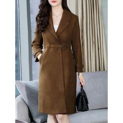 Berrylook Mid-length over-the-knee thick woolen coat sale, shoppers stop, womens jackets sale, black coat womens