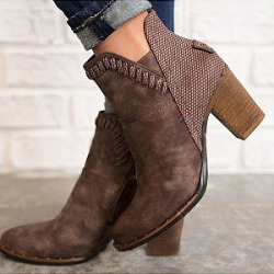 Berrylook Plain Chunky Round Toe Boots shoppers stop, online shop,