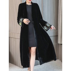 Berrylook Collarless Abstract Print Coat clothing stores, sale, best winter coats, womens casual jackets