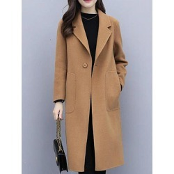 Berrylook Fold-Over Collar Plain Outerwear shoping, clothing stores, mens coats sale, warm coats for women