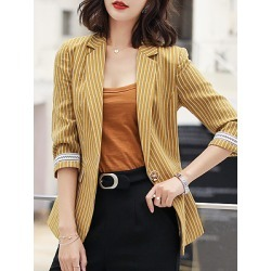 Berrylook Casual Striped Notch Lapel Blazer cheap online stores, online shop, stripe Blazers, long blazer womens, fitted blazer womens