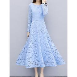 Berrylook Round Neck Lace Plain Maxi Dress sale, online sale, Empire Maxi Dresses, sheath dress, long formal dresses