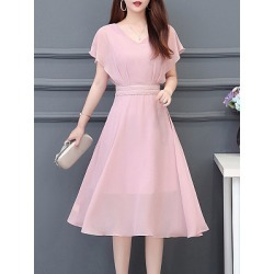 Berrylook V Neck Patch Pocket Plain Maxi Dress online sale, fashion store, Solid Maxi Dresses, sheath dress, semi formal dresses