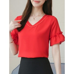 Berrylook V Neck Plain Bell Sleeve Blouse online sale, sale, shirts for women, shirts & tops