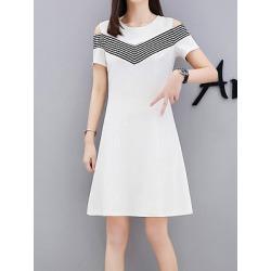 Berrylook Round Neck Color Block Raglan Sleeve Shift Dress online sale, sale, Fitted Shift Dresses, womens linen clothing, below the knee dresses